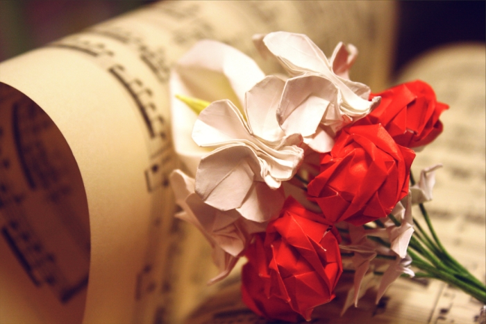 origami bouquet of red roses, calla lily, white orchids and baby's breath, designs by Robert Lang and Toshikazu Kawasaki