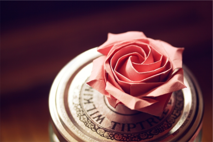 once upon a time, pink origami pentagonal rose, designed by Naomiki Sato