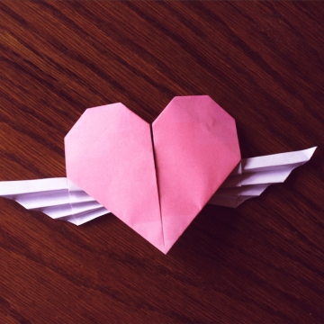 adenydd, pink origami winged heart, designed by Francis Ow
