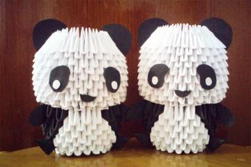 brothers, modular origami pandas