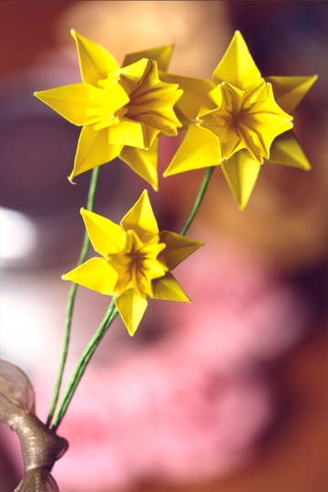 yellow origami daffodils, designed by Ted Norminton