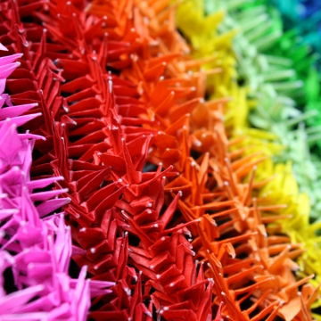 fidelity, rainbow origami senzaburu (1000 paper cranes), traditional design