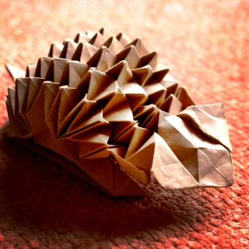 origami hedgehog, designed by Eric Joisel