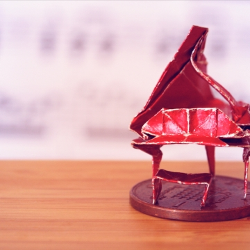 honky-tonk, miniature red origami grand piano, designed by Patricia Crawford