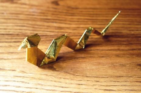zodiac, golden origami snake, designed by Kunihiko Kasahara