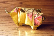 zodiac, golden origami pig, designed by Tony O'Hare
