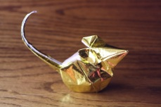 zodiac, golden origami rat, designed by Hoang Tien Quyet