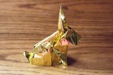 zodiac, golden origami rabbit, designed by Akira Yoshizawa