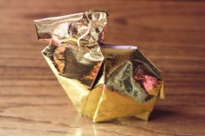 zodiac, golden origami ram, designed by Kunihiko Kasahara
