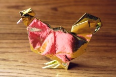 zodiac, golden origami rooster, designed by Akira Yoshizawa