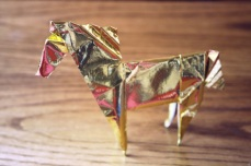 zodiac, golden origami horse, designed by John Montroll