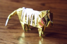 zodiac, golden origami tiger, designed by John Montroll