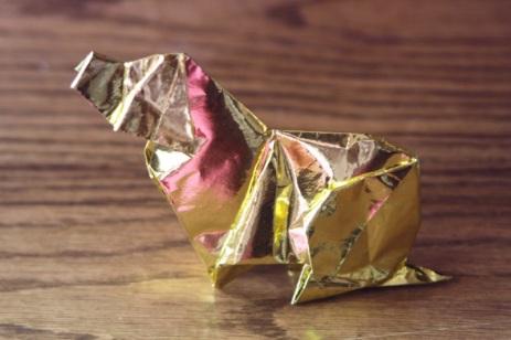 zodiac, golden origami dog, designed by Akira Yoshizawa