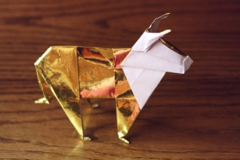 zodiac, golden origami ox, designed by John Montroll