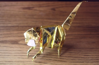 zodiac, golden origami monkey, designed by Lionel Albertino