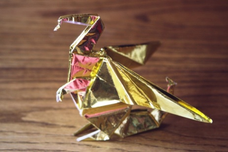 zodiac, golden origami dragon standing on its hind legs, designed by Gilad Aharoni