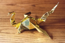 zodiac, golden origami welsh dragon, designed by Robert Neale