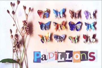 papillons, miniature origami butterflies, various designs inspired by Michael Lafosse