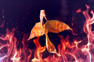 en hausse, origami phoenix, adapted from the mockingjay designed by Alexander Kurth