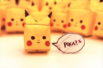 pika, yellow origami pikachu army
