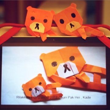 rilakkuma, origami relaxed bear, designed by Kade Chan