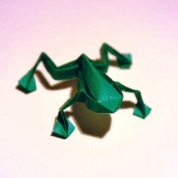 ribbit, green origami frog, designed by Toshikazu Kawasaki