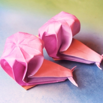romanza, pair of origami snails, traditional design