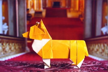 royal, origami corgi dog, designed by Steven Casey