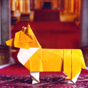royal, origami corgi dog, designed by Steven Casey