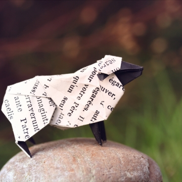the android's dream, origami sheep, designed by Hideo Komatsu