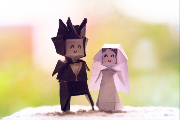 till death us do part, origami bride and groom, designed by Jo Nakashima