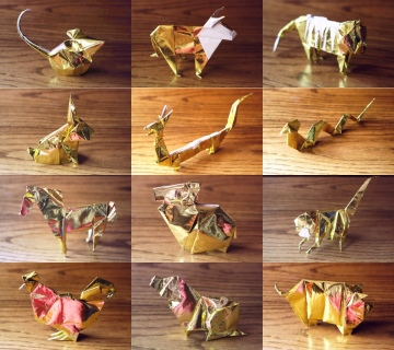 zodiac, golden origami animals of the chinese zodiac