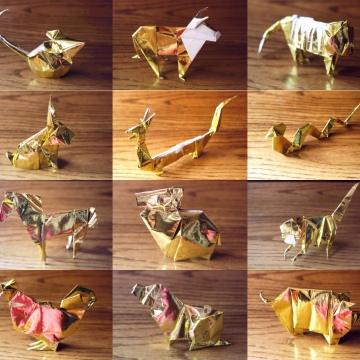 zodiac, golden origami animals of the chinese zodiac