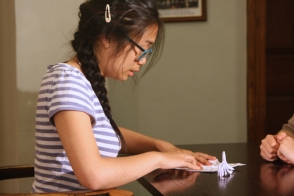 DNA Origami film shoot - Gaby folding origami