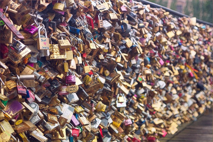 love padlocks on the pont des arts, paris