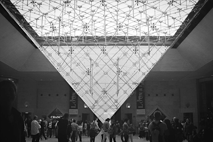 upside-down glass pyramid at the louvre museum, paris