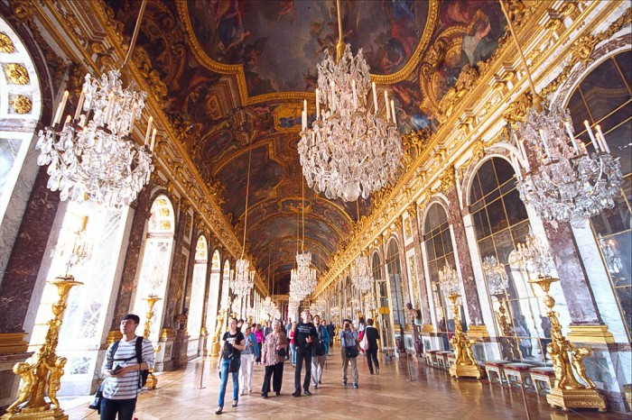 hall of mirrors at the palace of Versailles, france