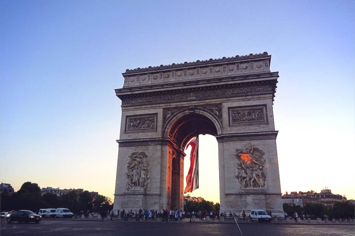 arc de triomphe and the tricolore on Bastille Day, Paris