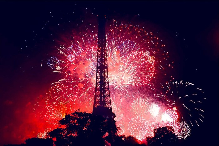 eiffel tower lit by 14th July fireworks for Bastille Day, paris