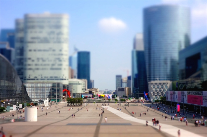 metal and glass of la defense, paris