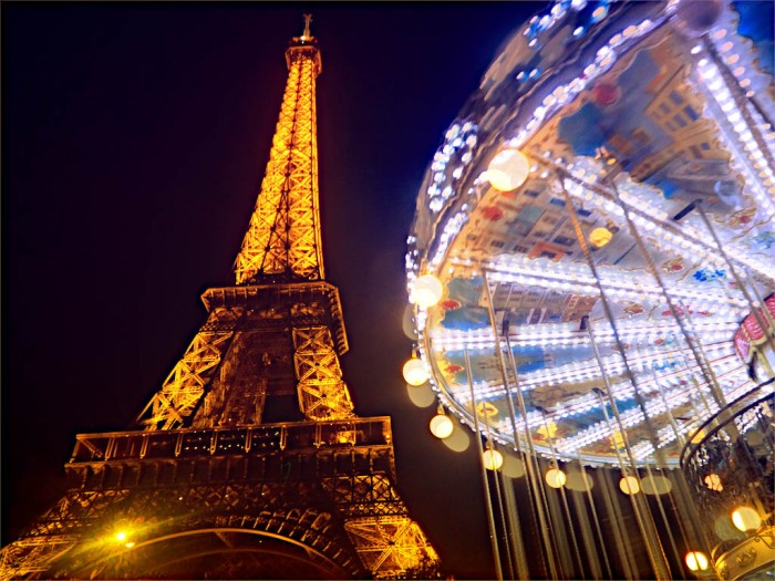 eiffel tower and carousel by night, paris