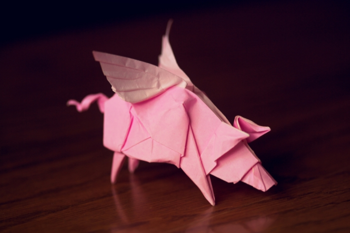 perchance to fly, origami flying pig, designed by Bodo Haag